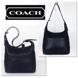 Coach Vintage Black Leather Zip Top Bucket Bag